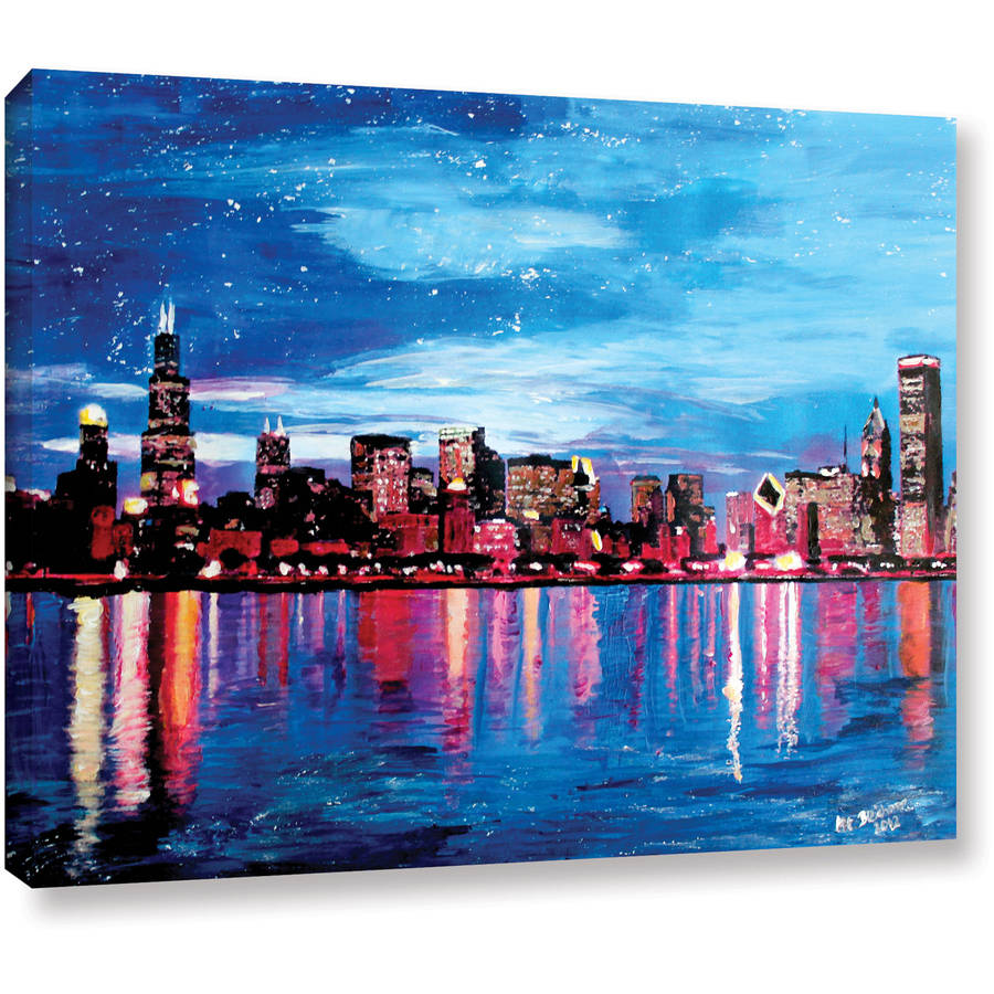"ArtWall Martina Bleichner ""Chicago Skyline at Dusk"" Gallery-wrapped Canvas"