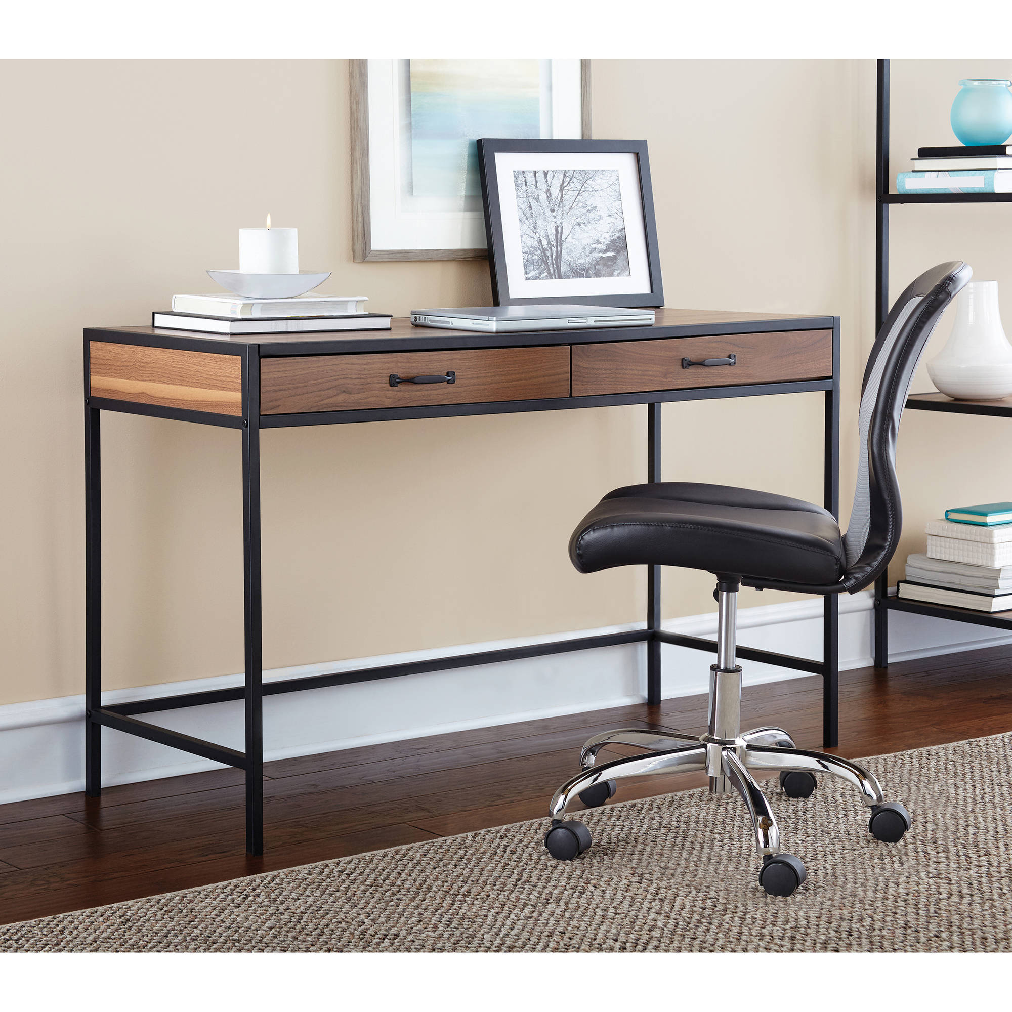 Mainstays Metro Desk with 2 Drawers, Multiple Finishes