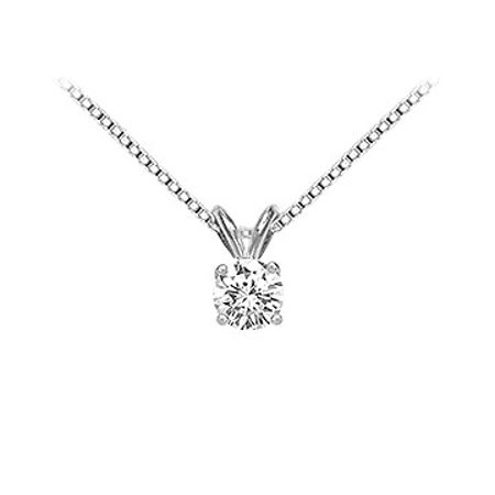 18K White Gold Prong Set Round Diamond Solitaire Pendant 0.50 CT. TDW. - image 1 of 2
