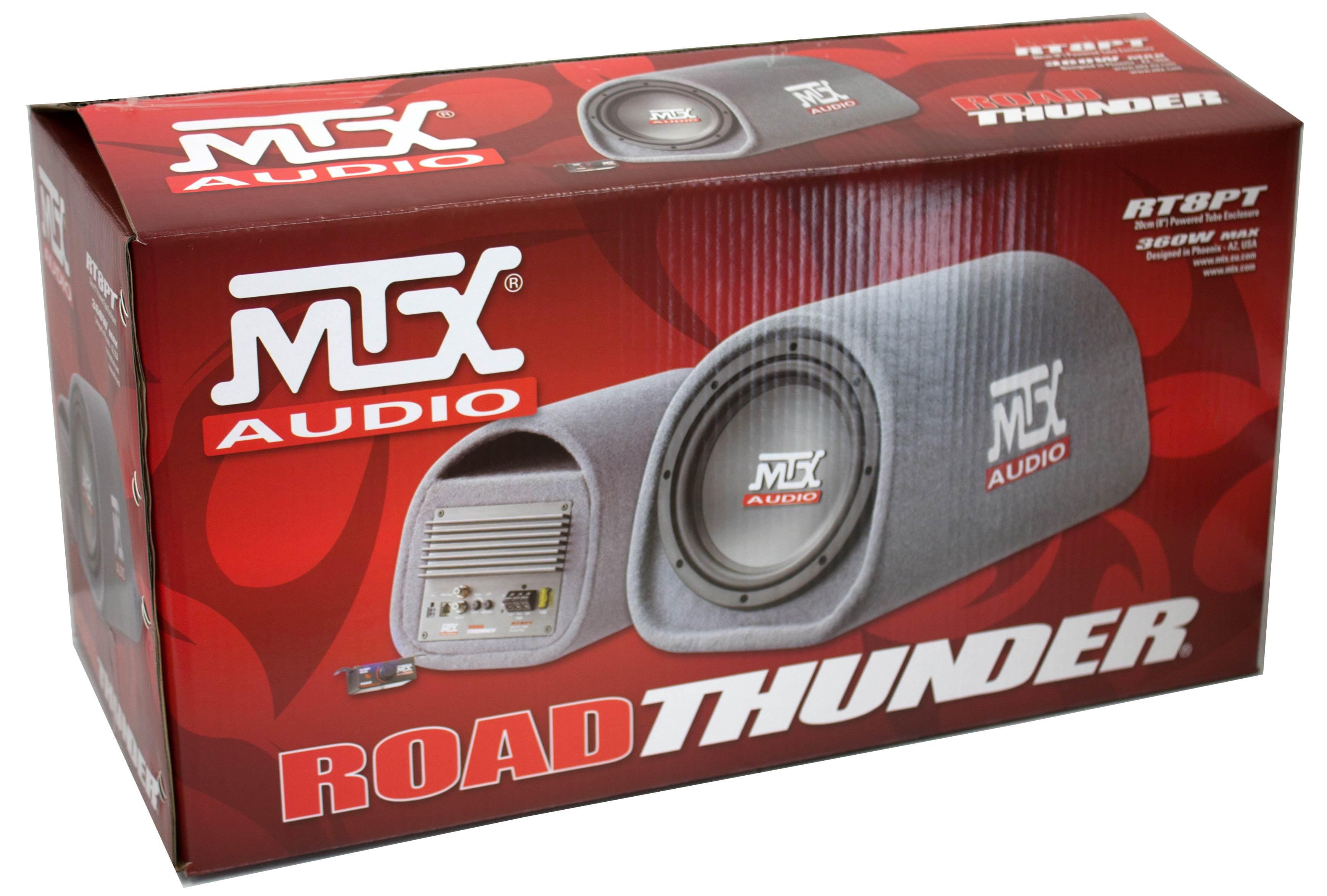 "MTX Road Thunder RT8PT 8"" 240 Watt Powered Vented//Ported Bass Tube+Amp Wire Kit"