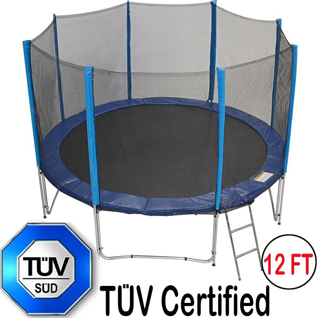 Zupapa 15 14 12 Blue Trampoline With Enclosure Ladder