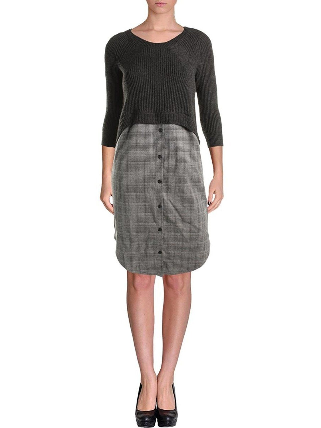 Rachel Rachel Roy Womens Wool Blend Mix Media Wear to Work Dress