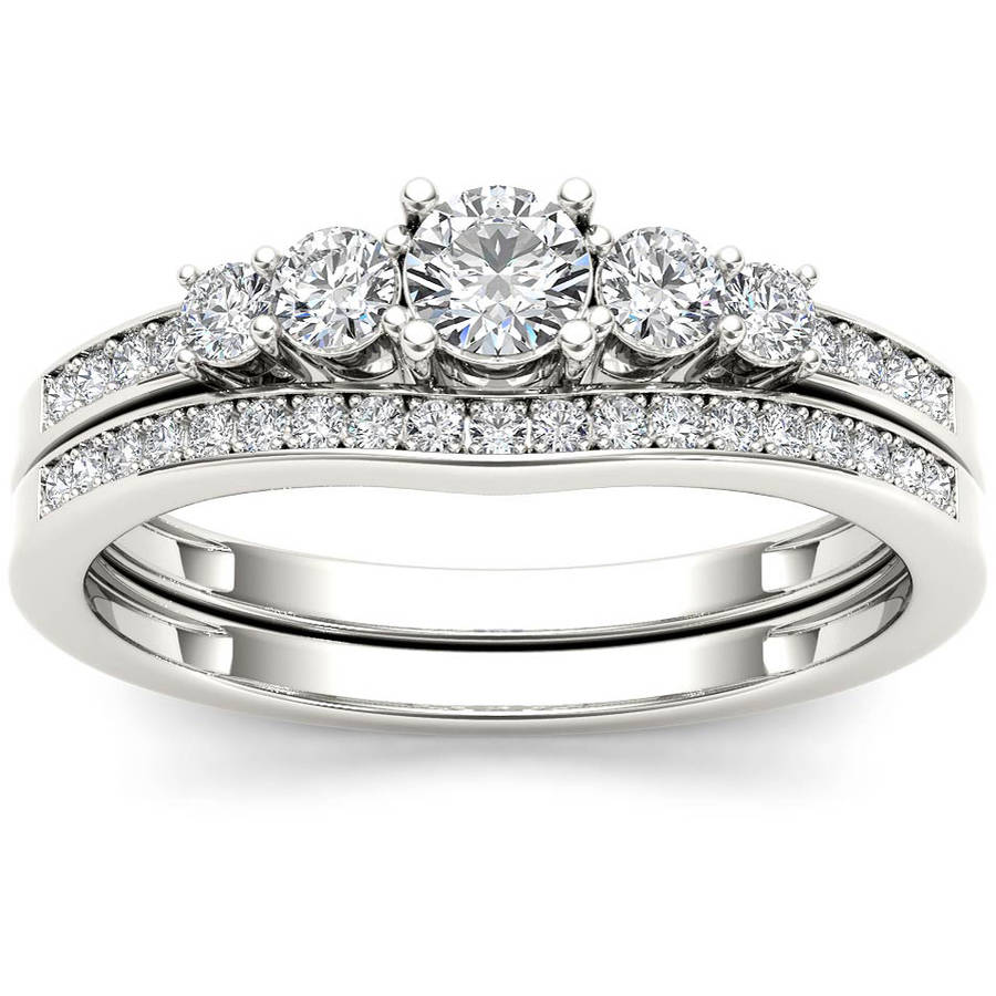 Imperial 1/2 Carat T.W. Diamond Classic 14kt White Gold Engagement Ring Set