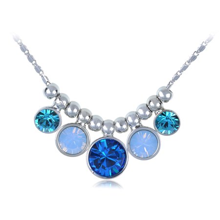 Sapphire Aquamarine Round Bubble Crystal Silver Toned Choker Necklace - Bubble Necklaces