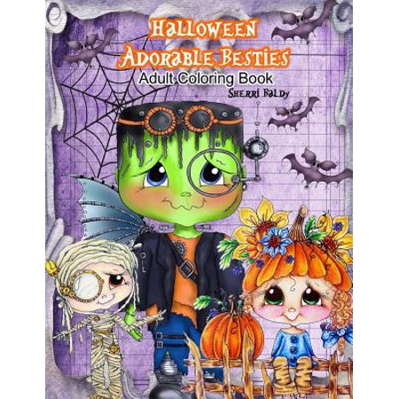 Halloween Adorable Besties Adult Coloring Book - Halloween Coloring Pages Cats