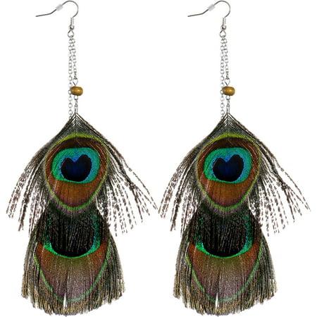 Chain Drop Peacock Feather Earrings