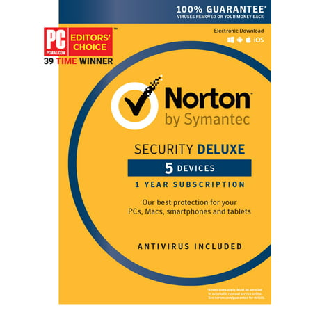 Norton Security Deluxe - 5 Device (Best Antivirus Firewall 2019)
