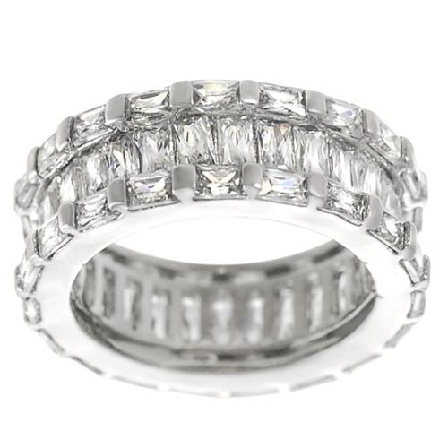 Journee Collection  Silver Emerald-cut CZ Engagement-style Ring