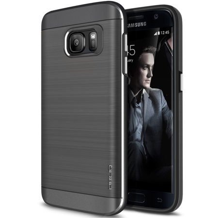 buy online e776a dfbe3 OBLIQ, Galaxy S7 Case [Slim Meta][Titanium Space Gray] Premium Metallic  Brushed Dual Layer TPU Inner PC Exterior Heavy Duty Protective Anti Scratch  ...