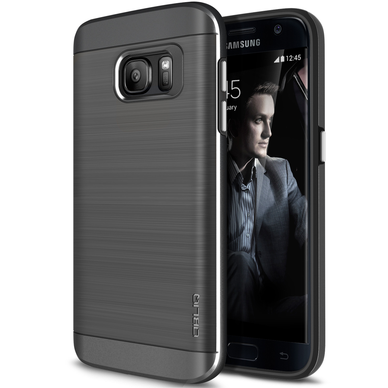 OBLIQ, Galaxy S7 Case [Slim Meta][Titanium Space Gray] Premium Metallic Brushed Dual Layer TPU Inner PC Exterior Heavy Duty Protective Anti Scratch Cover for Samsung Galaxy S7