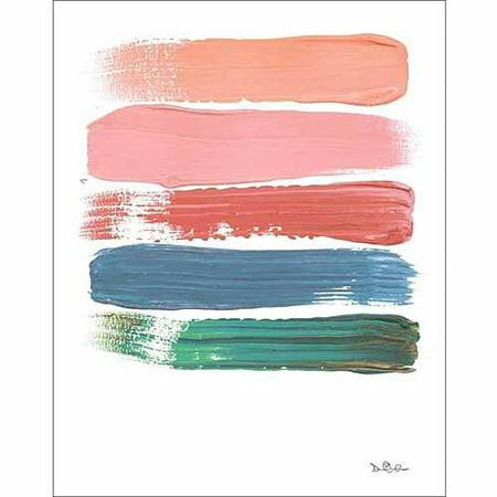 Paint Swatch Line Texture Contemporary Modern Trendy Abstract Painting Pink & Blue Canvas Art by Pied Piper Creative ()