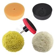 "RamPro 3"" Car Buffing & Wax Polishing Pad Kit - Drill Attachment Tool with Velcro Wheels"