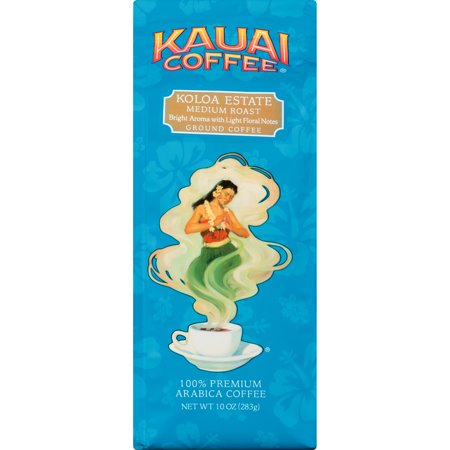 Kauai Coffee Koloa Estate Hawaiian Ground Coffee, Medium Roast, 10 -