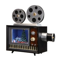 """8.5"""" Brown and Silver Christmas Projector LED Lighted Tabletop Decor"""