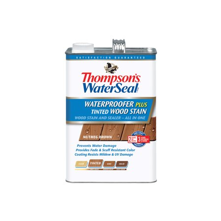 - Thompson's WaterSeal Waterproofer Plus Tinted Wood Stain, Nutmeg Brown, 1-Gal