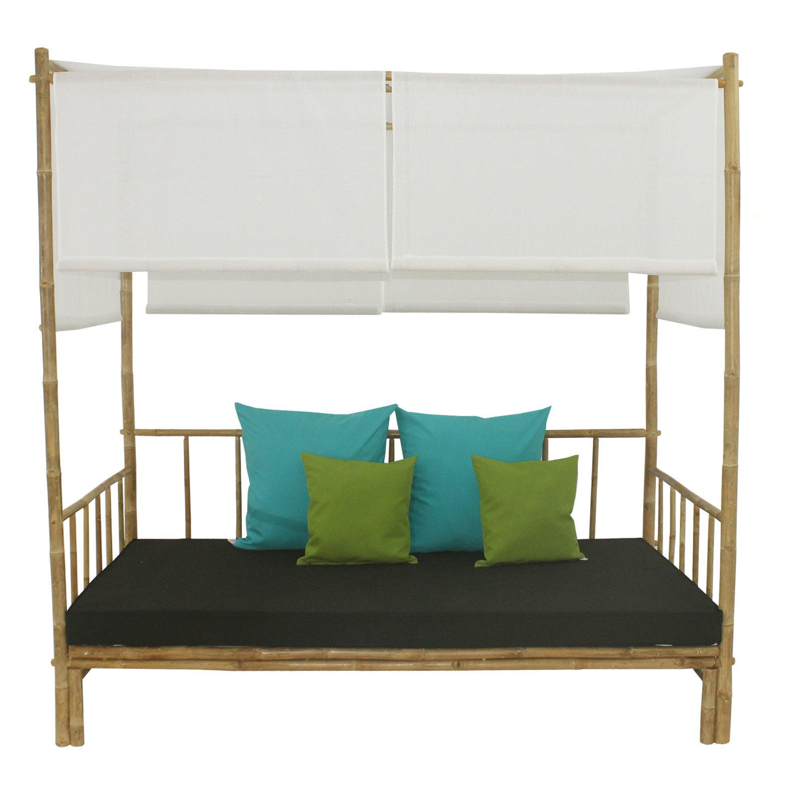 Statra Bamboo Daybed with Canopy Mattress and Throw Pillows
