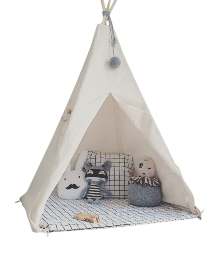 HAN-MM Kid's Foldable Teepee Play Tent, One Four Ploes Style, White by