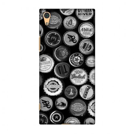 Screen Monochrome - Sony Xperia XA1 Case, Premium Handcrafted Printed Designer Hard Snap On Case Back Cover with Screen Cleaning Kit for Sony Xperia XA1 - Beer Caps Monochrome