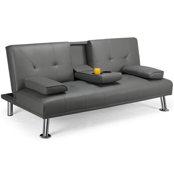 Easyfashion LuxuryGoods Modern PU Leather Futon Lounger Sleeper