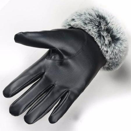 DZT1968Fashion Women Lady Winter Warm Leather Driving Soft Lining Gloves