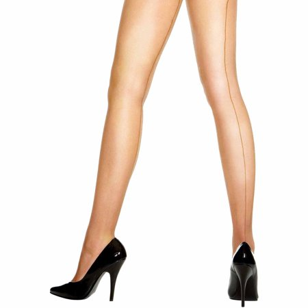 Beige Sheer Back-Seam Pantyhose Adult Halloween Costume Accessory](Panty Liner Halloween Costume)