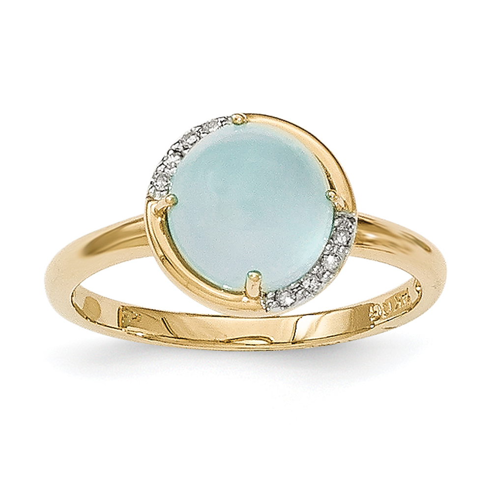 14k Yellow Gold Blue Chalcedony and Diamond Ring Y12870BC AA Size 7 by
