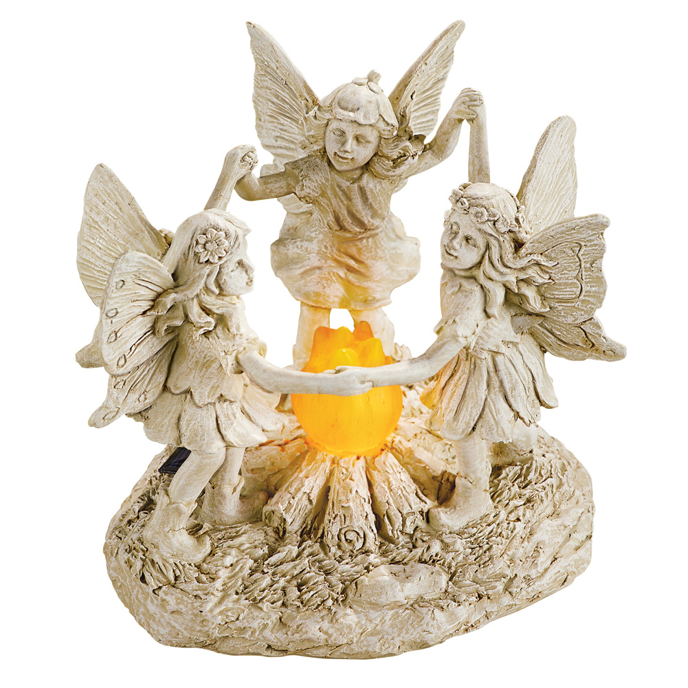 Solar Fairy Dance Outdoor Garden Statue Decor, Lighted Fire, Holding Hands for Yard, Lawn,... by Collections Etc