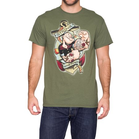 Popeye Strong To The Finish Mens Green T Shirt