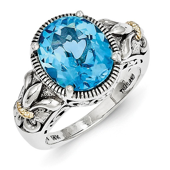 Sterling Silver Polished Antiqued Prong set With 14k Blue Topaz Ring Ring Size: 6 to 8 by Jewelryweb