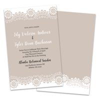 Personalized Lace Edge Kraft Wedding Invitations