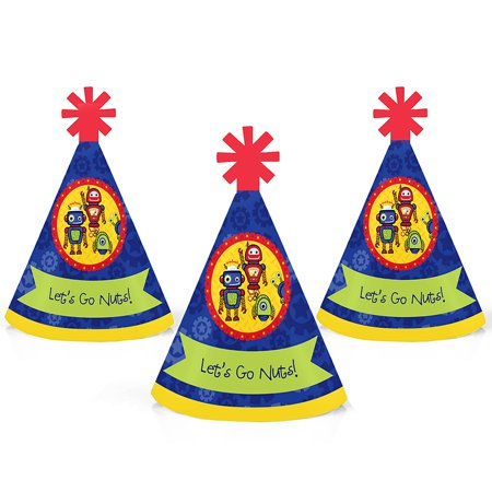 Robots - Mini Cone Baby Shower or Birthday Party Hats - Small Little Party Hats - Set of 10 - Mini Birthday Party Hats