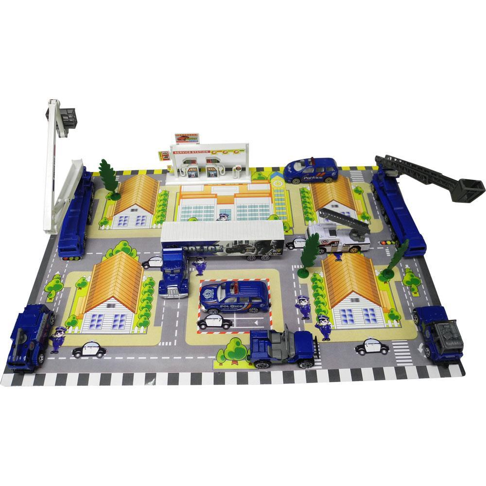 Die Cast 'City Police Force' Vehicle and Town Set with 40 Unique Police Cars and Scenic Pieces along with Mat by Dimple