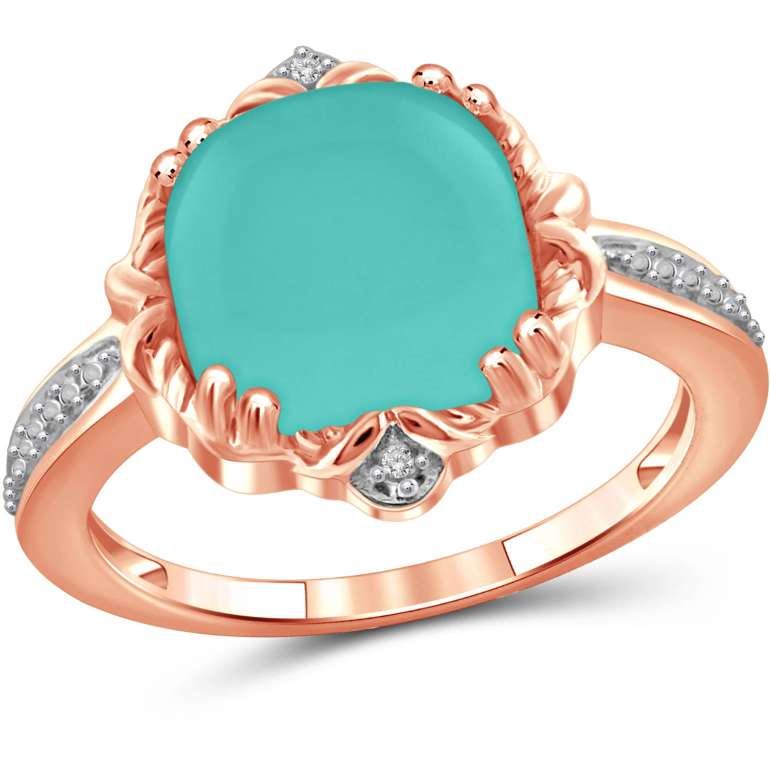 JewelersClub 4-1 2 Carat T.G.W. Chalcedony and White Diamond Accent Rose Gold over Silver Fashion Ring by JewelersClub