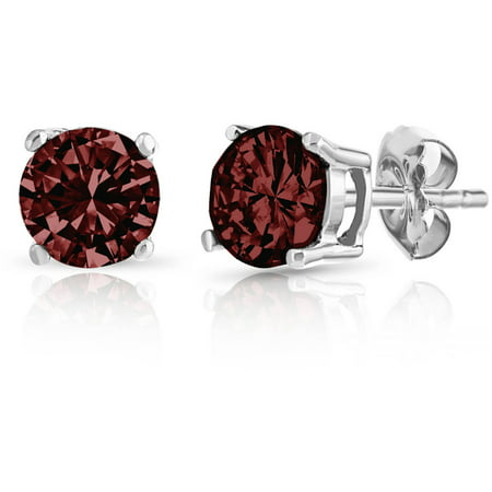 Round Garnet Gemstone Sterling Silver Stud Earrings