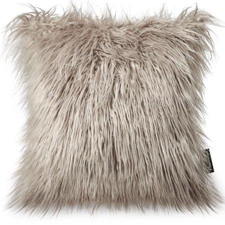 New Fur Felt - Phantoscope Decorative New Luxury Series Merino Style Multiple Color Beige Fur Throw Pillow Case Cushion Cover 18inch x 18inch