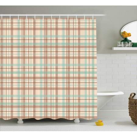 Abstract Shower Curtain Tartan Motif Scottish Fashion Dated Traditional Folk Ethnic Design Fabric Bathroom