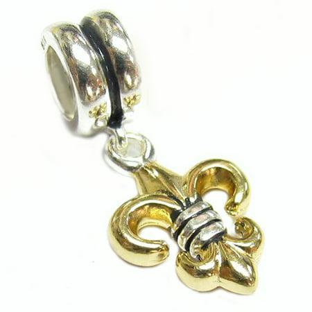 Queenberry Sterling Silver Gold-tone Fleur-de-lis Dangle European-style Bead Charm  Fits Pandora Crystal Fleur De Lis Charm