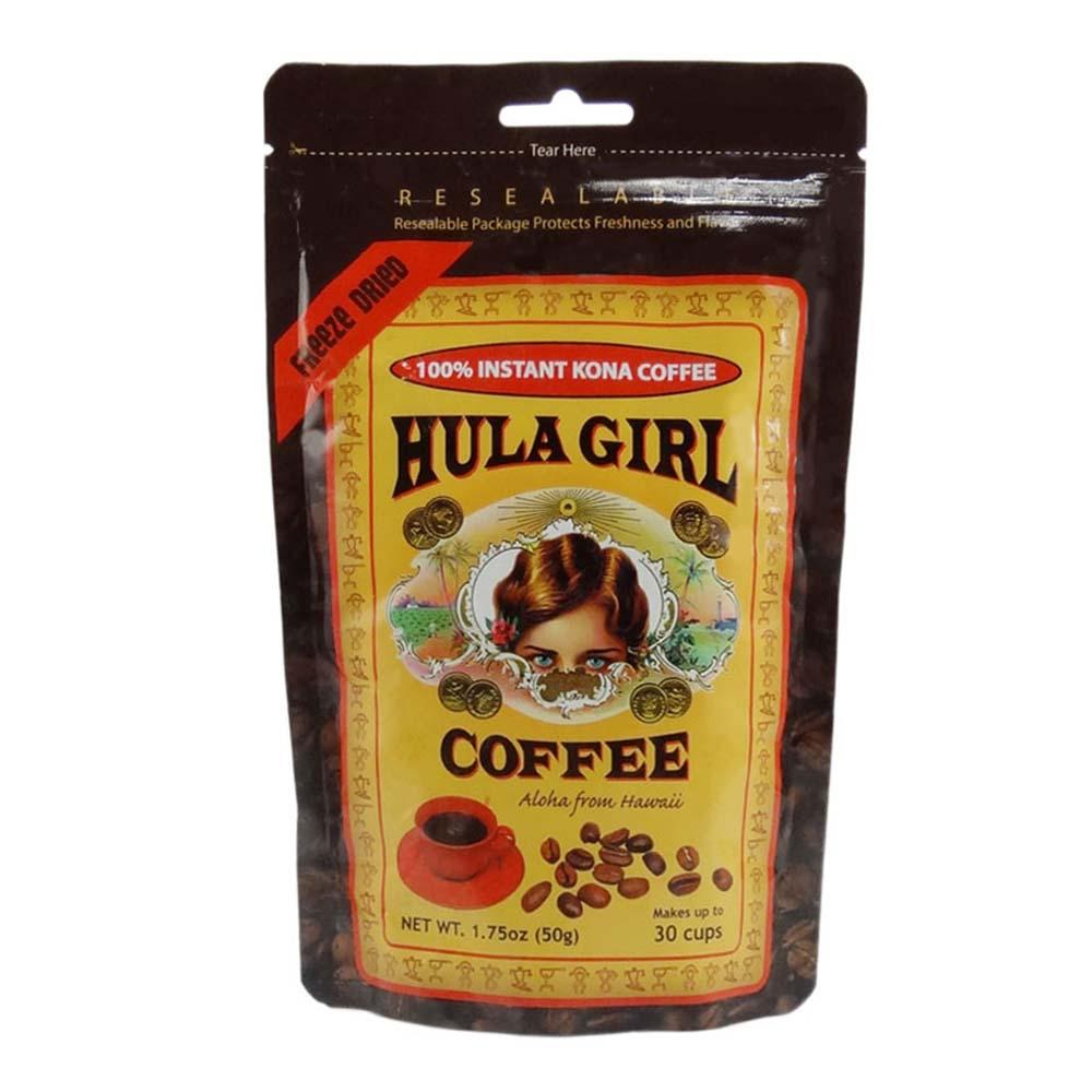 Hula Girl Instant 100% Kona Coffee Freeze Dried Pouch (50G) by Hawaiian Royal Trading