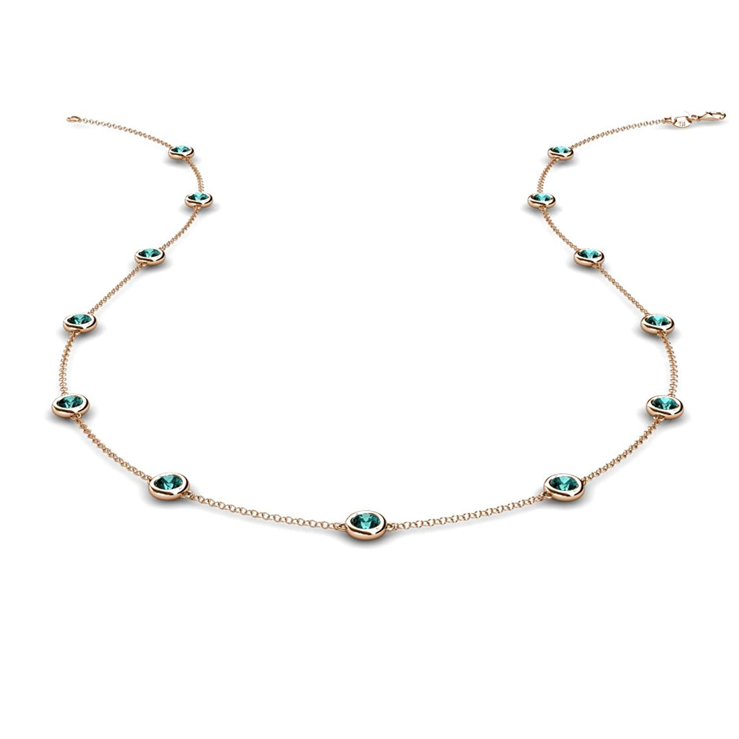 13 Station Blue Diamond on the Cable Necklace 1.30 Carat tw in 14K Rose Gold.18 Inches in Length by TriJewels
