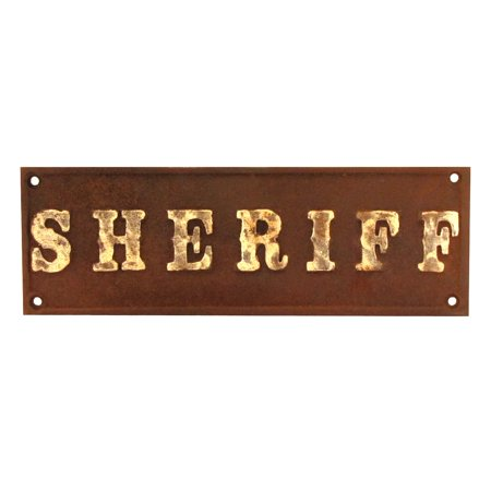 Cast Iron SHERIFF Plaque Old West Hotel Saloon Style Sign Rustic Bar Wall Decor - Old West Decor