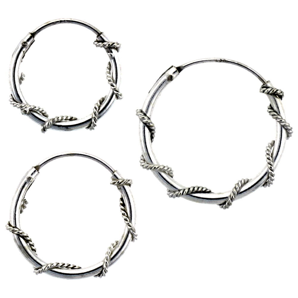 10 Sets Sterling Silver 14mm, 16mm & 18mm Rope Wire Wrapped Endless ...