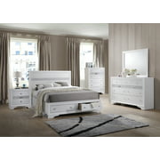 Tokyo 6 Piece Bedroom Set, King, White Wood, Contemporary (Storage ...