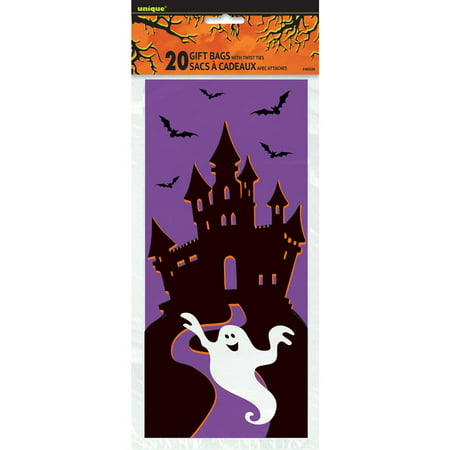 Halloween Bag Crafts - Haunted House Halloween Cellophane Bags, 20-Count