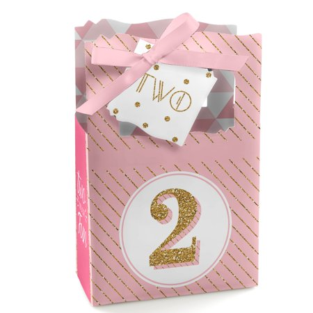 Two Much Fun - Girl - 2nd Birthday Party Favor Boxes - Set of 12