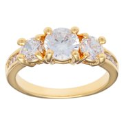 Kate Bissett  14k Gold Overlay Cubic Zirconia Past, Present, Future Anniversary Ring