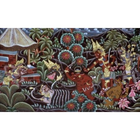 Carved Wood Panel with a Mythological Motif from Bali Indonesia Asian Art Wood Poster Print Carved Bali Wood Art