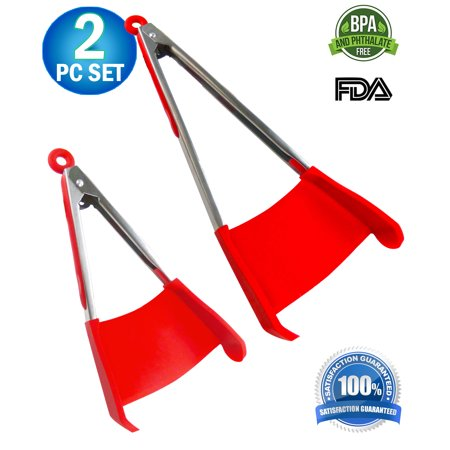 2pc - Spatula & Tongs 2-in-1 Combo Non-stick Heat Resistant with Locking Clip, Kitchen Tool Helper Dishwasher Safe BPA Free - Multi Purpose Food Cooking & Serving Utensil Red (Large & Small)