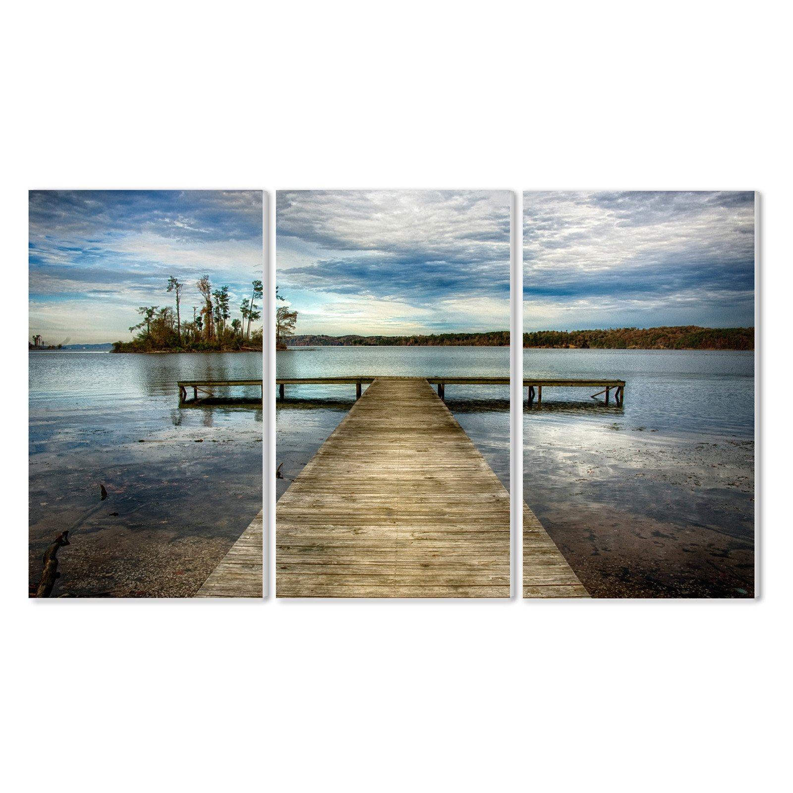 The Stupell Home Decor Collection Dock Overlooking Island Wall Plaque - Set of 3