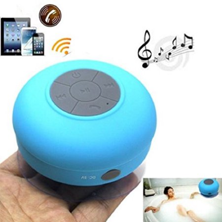 Portable Waterproof Wireless 3.0 Speaker Shower Car Handsfree Receive Call Music Suction Phone Mic 8hours music time (blue)