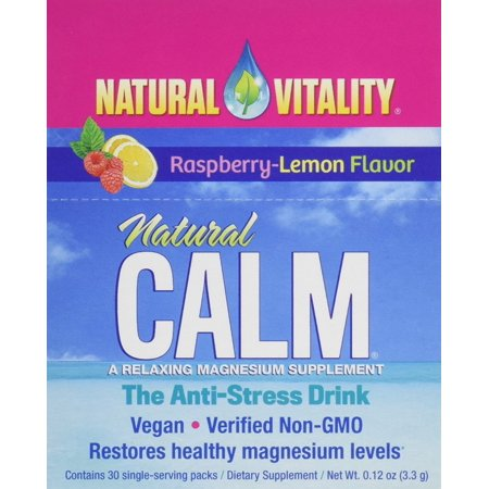 Natural Calm Anti Stress Drink 30 count Raspberry Lemon flavor, Features aproprietary formula thatprovides ahighly absorbable, water-soluble.., By Natural Vitality